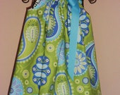 Blue and Lime Paisley Pillowcase Dress