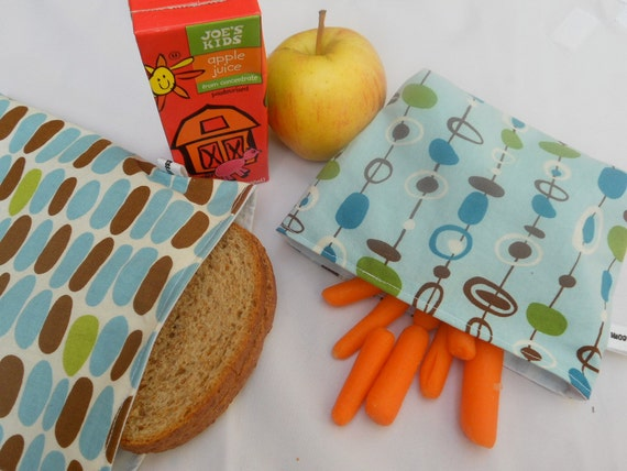 Geometric Lunch Bag Set in Blue