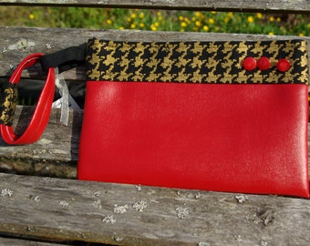 Red Wristlet with Black and Gold Houndstooth