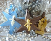 Old Plastic Stars With Jesus Ornaments