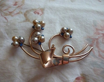 Pearl Brooch With Blue Rhinestones ~ Vintage Pin ~ Old Jewelry ~ Gift for Her ~ September Birthday