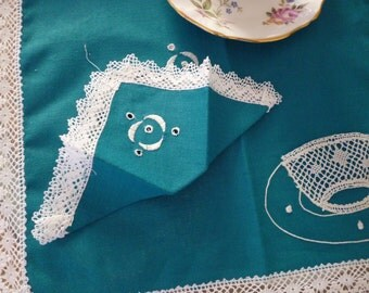 SALE Tea For Two Table Cloth and Napkins