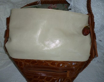 Vintage Marco Avane Handbag  ~ In Beige And Brown Croc Leather ~ Very Nice Bag ~ Large Leather Handbag ~ Gift for Her ~