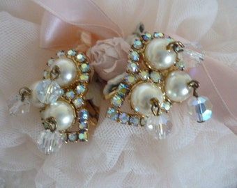 Vintage Wedding  Earrings ~ Vintage Clip On Earrings With Pearls,Aurora Borealis ~ Romantic Jewelry ~ Shabby Chic ~ Gift for Grandma or Mom