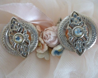 Vintage Trifari Earrings ~Clip On Earrings ~  Rhinestone Jewelry ~ Signed Costume Jewelry ~ Gift For Her