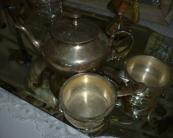 Tea Pot  With Cream And Sugar ~  Vintage Silver Color Set ~ Gift Giving  ~ Tea Drinkers Set