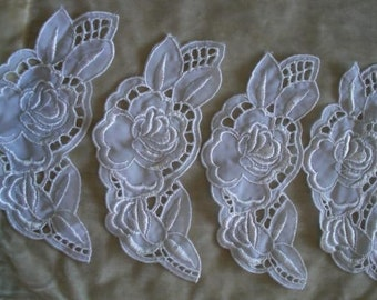 White Rose Appliques ~ Sewing Notions ~ Vintage Appliques ~ Crafts or Quilts ~ Clothing Fabric ~ Flowers, Roses