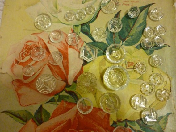 Clear Glass Buttons Assorted Antique