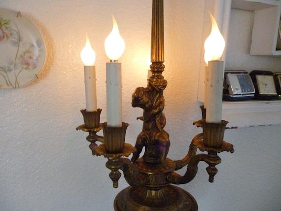 Antique Brass Cherub Candelabra Lamp French Shabby