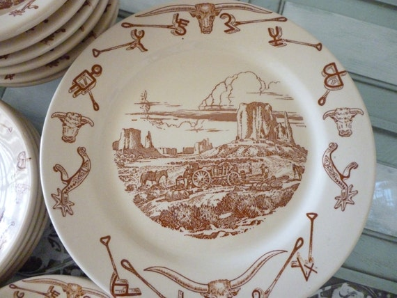 Wallace China El Rancho Pattern Dinner Plate Western Restaurant Ware 4 RESERVED