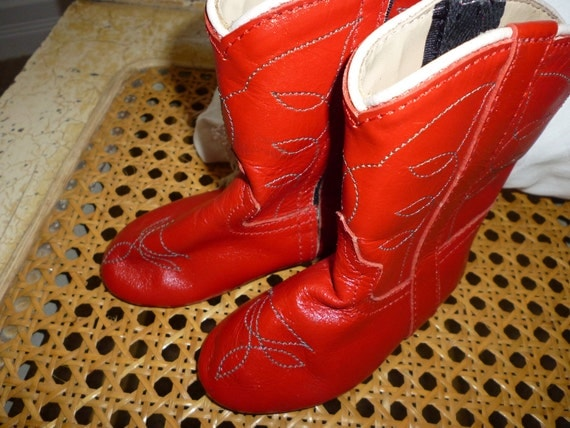 Red Leather Baby Cowboy Boots Vintage