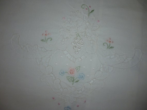 Sweet Shabby Pillow Sham White Pastel Embroidered Flowers