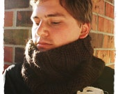 Dark brown knit cowl for men, super warm and comfortable wool