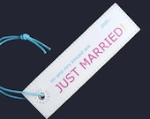 Personalized His and Hers Wedding Gift - SET of 2 JUST MARRIED Luggage Tags in Bursting Colors - Cool Honeymoon Bridal Shower gifts