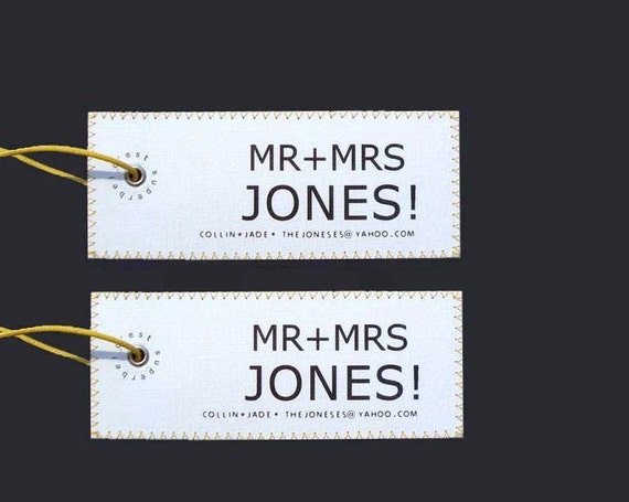 The essential HONEYMOON handmade and personalized Mr & Mrs Luggage Tag Set.