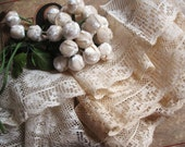 Antique Victorian Creamy Floral Net Lace LOT - over 4 feet