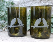 Set of Two -Birds on a Branch- Recycled Wine Bottle Tumblers