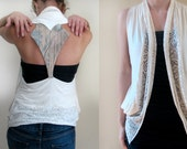 Sweetheart Vest in Cream and Teal