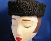 Persian Lamb Black Vintage Hat with Pompom
