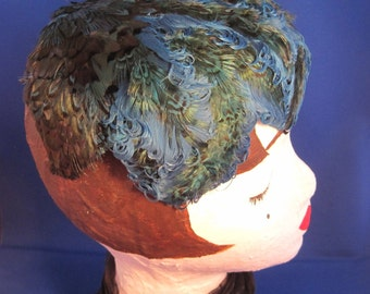 Blue Pheasant and Curly Feather Hat