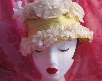 Pale Yellow Vintage Hat with White Flowers and Velvet Trim