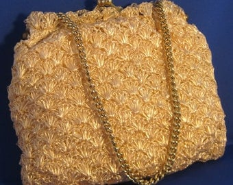 Buttercream Woven Vintage Purse with Chain