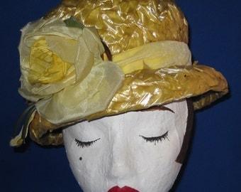 Yellow Rose Vintage Hat