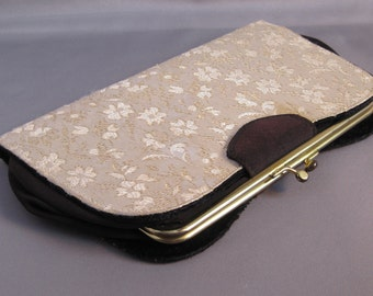 Cream and Gold Toille Clutch with Black Detail