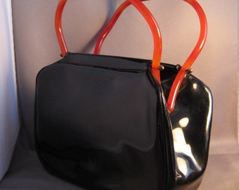 Black Patent Leather Handbag with Faux Amber Handles Purse Bag