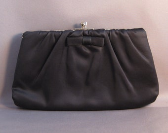 Ruched Black Satin Clutch with Small Bow