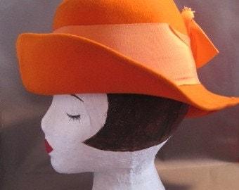 Fun Rustic Wide Brimmed Orange Vintage Hat with Big Bow