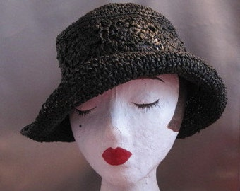 Vintage Black Slouchy Woven Hat