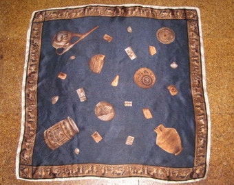 Hieroglyphic and Artifact Scarf in Navy and Brown with Urns, Bowls, Vases Musium Enthusiast