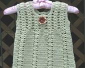 Girl's Cotton Shift Dress / Jumper in Pale Celery  - Size 3T - 4T