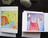 SALE - 6 Snail Notecards -  2 designs, 3 x 5 inch