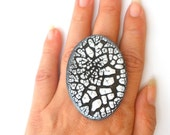Christmasinjuly - Make your statement ring  One of a kind black and white ceramic jewelry