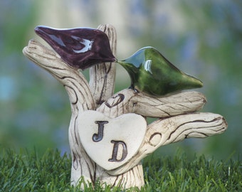 Custom cake topper - A pair of love birds on a tree  with your initials - Rustic tree wedding cake topper