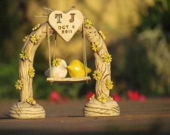 Country wedding cake topper Custom love birds  Swing wedding cake topper Bird cake topper