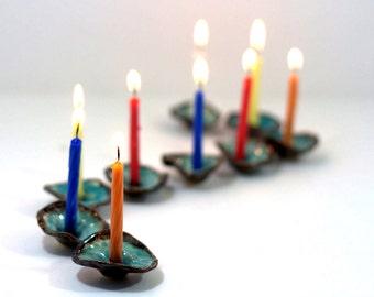 Ceramic Hanukkah Menorah Ceramic flowers in brown and turquoise Holidays decor