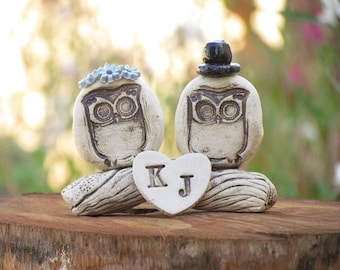 Owls cake topper Funny cake topper Animal cake topper Wedding keepsake Rustic personalized wedding cake topper