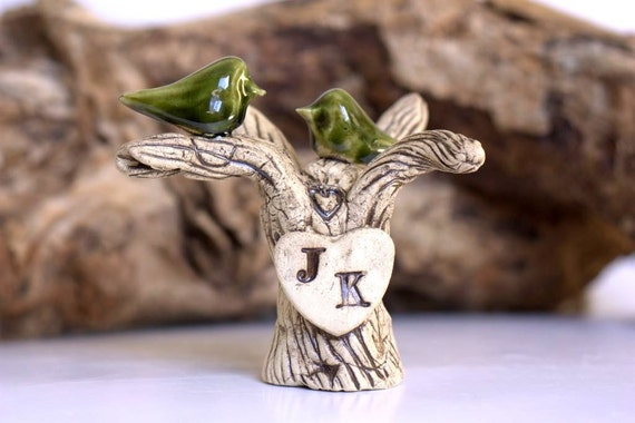 Wedding Cake Topper - Personalized tree with your initials Woodland theme Birds wedding topper