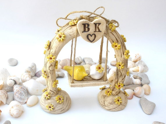 Rustic wedding cake topper Tree cake topper Horseshoe