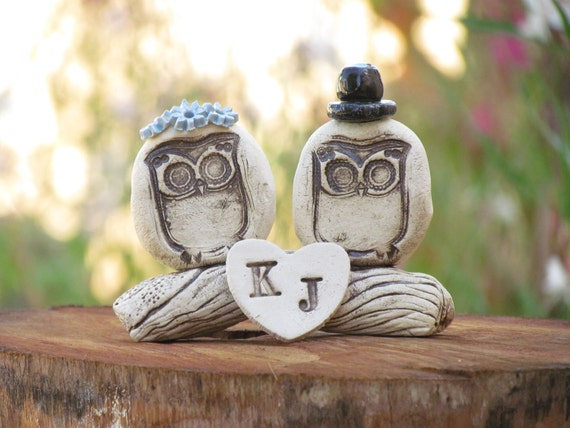 Owls cake topper Rustic personalized bride and groom love birds cake topper