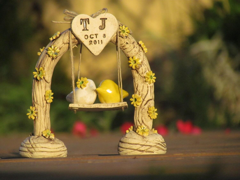 Country wedding cake topper Custom love birds Swing wedding cake ...