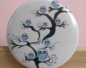 Pocket Mirror - BLUE TREE OWLS Compact Mirror