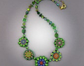 Green Fantasy Flowers Necklace