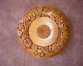 One of a kind, all hand carved solid wood wall decor plate