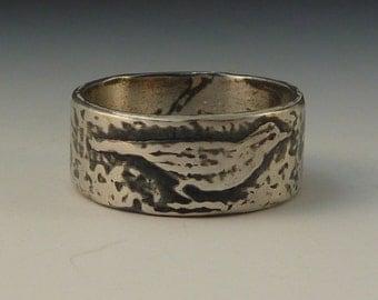 Meadowlark bird ring - handmade art jewelry