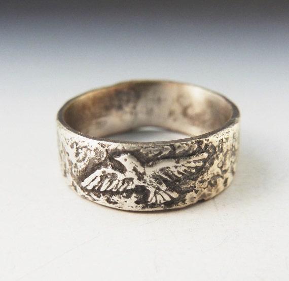Silver Bird Ring - handmade art jewelry