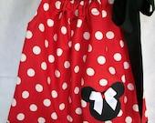 Sweet and Sassy Minnie Mouse Pillowcase Dress (6 mos, 12 mos, 18 mos, 2T, 3T, 4T, 5yr, 6yr, 7Yr, 8yr)--PERFECT FOR THAT DISNEY VACATION